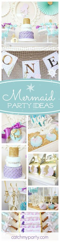 WOW! What a gorgeous Mermaid birthday party! The candy apples are beautifully decorated! See more party ideas and share yours at CatchMyParty.com