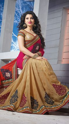 urvashi-rautela-in-beige-half-and-half-saree-2fd3499383__54482_zoom.jpg (711×1280)