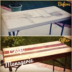 Folding table makeover. Functional CAN be beautiful.  Who doesn't have an old beat up table like this in their garage? There's hope for it! Another project from www.Facebook.com/CraftMenagerieCA  IG:@craftmenagerieca