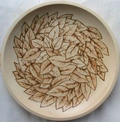 wood burning leaf images | Pyrography bowl leaves design