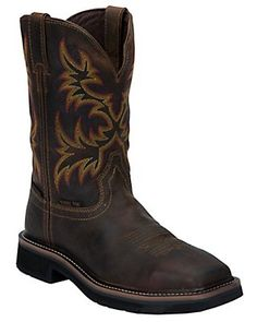 Justin Trekker Men's Brown and Camo Waterproof Square Soft Toe Work Boots Steel Toe Cowboy Boots, Steel Toe Work Boots, Cowgirl Boots, Western Boots, Country Boots, Western Wear, Country Style, Men's Style, Comfortable Steel Toe Boots