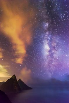 Pitons and Milky Way, St. Lucia