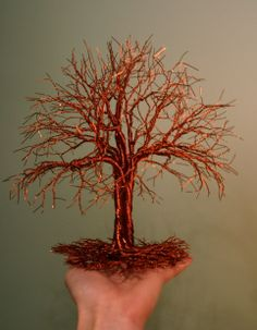Standing, copper wire tree by Twisted Forest. www.Facebook.com/TwistedForest