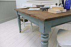 Distressed Painted Pine Kitchen Table