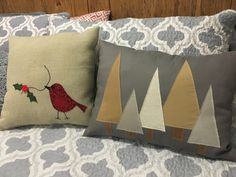 Two Christmas pillows I've made to sell at a local crafts fair. Christmas Shows, Christmas Fun, Large Christmas Decorations, Local Craft Fairs, Diy Sewing Projects, Christmas Pillow, Christmas Wrapping, Craft Gifts, Christmas Crafts