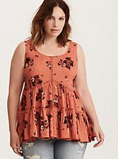 Floral Print Challis Lace Inset Tank Top,
