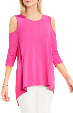 Free shipping and returns on Vince Camuto Cold Shoulder Mixed Media Top at Nordstrom.com. Sassy shoulder cutouts put a trendy spin on a fluid knit top with a pleated panel of airy crepe dipping gracefully down the back.