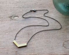 the Brass Chevron necklace