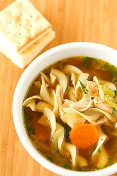 Chicken Noodle Soup a la Brown Eyed Baker.  I like to sub real chicken stock if I have it on hand.