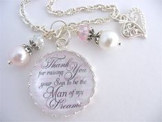 Thank You for Raising Your Son to be the Man of my Dreams Mother of GROOM Gift Pink Damask Mother in Law Gift Beach Jewelry Mothers Day Gift via Etsy