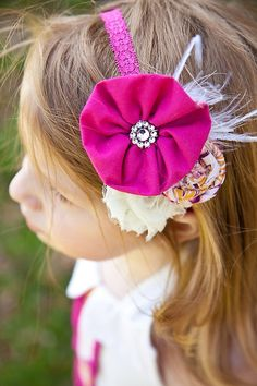 Fuchsia headband small petite rolled rosette tiny  for newborn-toddler-baby girl-teen-adult