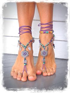 GYPSY purple BAREFOOT Sandals Anklets Crochet SANDALS by GPyoga