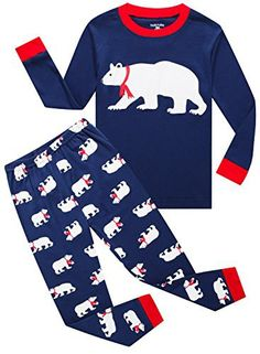 Family Feeling Christmas Bear Baby Boys Girls Long Sleeve Pajamas Sets 100% Cotton Pyjamas Toddler Infant Kids 18-24 Months Blue