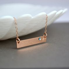 Personalized Bridesmaid Gift, Rose Gold Bar necklace, Personalized Bar Necklace, Bridesmaid Set, Monogram Bar by malizbijoux. Explore more products on http://malizbijoux.etsy.com