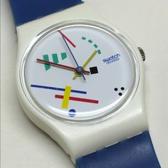 Vintage Ladies Swatch Watch 1986 This is a vintage Ladies Swatch Watch from 1986. It is running and keeping perfect time with a new and included battery. Fantastic condition; no cracks or chips. Swatch Jewelry