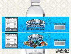 SKYLANDERS Water Bottle Labels - Bottle Wraps Printable & Personalized for SKYLANDERS Birthday Party - Choose from 3 colors on Etsy, $6.00