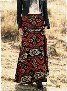 Our pima jacquard knit skirt fuses Native American and Berber geometrics in bold hues of crimson, stone and black. The long, boho-chic silhouette flows from a flattering wide yoke to a sweeping hem.