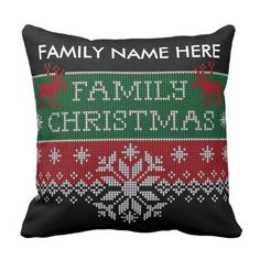 Personalised Household Christmas Ugly Sweater Throw Pillow. >>> Discover even more by going to the image
