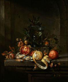 Cornelis Jansz de Heem (1631 Leiden - 1695 Antwerp), Still life with fruit, oysters and a roman goblet. Oil on canvas. Relined. 78 x 65.5 cm. Photo Hampel
