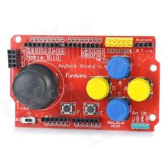 DIY Funduino Joystick Shield V1 Expansion Board - Red. Brand Funduino Model Joystick Shield V1 Quantity 1 Color Red Material FR4 Features Great combination of game development board and Arduino Specification nRF24L01 wireless communication mode, Bluetooth wireless communication mode; I2C wireless communication mode Application DIY projects Packing List 1 x Funduino Joystick Shield 1 x Joystick. Tags: #Electrical #Tools #Arduino #SCM #Supplies #Boards #Shields