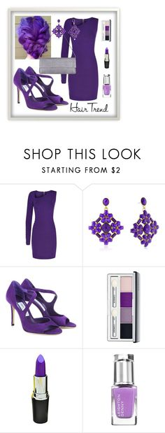 """""""Purple Rain..."""" by sweetadry ❤ liked on Polyvore featuring beauty, Balmain, Jimmy Choo, Clinique, Leighton Denny, Nancy Gonzalez, hairtrend and rainbowhair"""