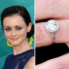 Alexis Bledel's vintage octagon engagement ring.