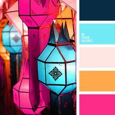 anaranjado y azul muy oscuro, anaranjado y celeste, anaranjado y rosado, azul de Prusia, celeste y beige, celeste y naranja, celeste y rosado, color magenta, color rosado vivo, colores anaranjado y arena, colores celeste y fucsia, rosado y anaranjado, rosado y azul muy oscuro, rosado y celeste.