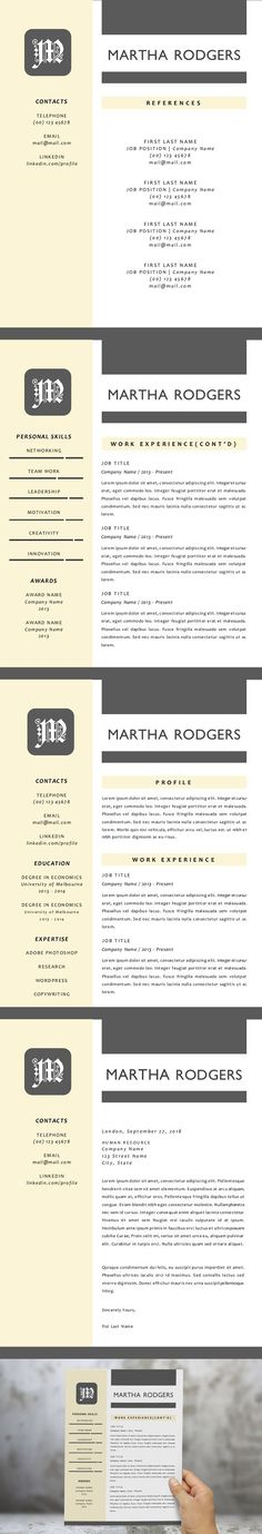 1 Page Resume Template Modern Resume Templates Pinterest