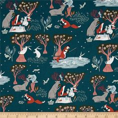 Dear Stella Folkwood Friends Emerald from @fabricdotcom  Designed by Rae Ritchies for Dear Stella, this cotton print fabric features adorable woodland creatures having a tea party, swinging in the trees and just enjoying the outdoors. Perfect for quilting, apparel and home decor accents. Colors include white, black, red, brown, shades of pink and blue, taupe, seafoam and teal.