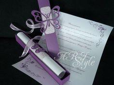 Ръчно изработени сватбени покани в лилаво и пеперуди