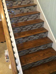 Red oak treads w/ glass tile risers