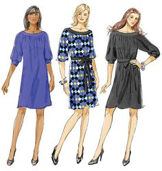 Pattern Description:  Loose fitting, straight, above mid-knee, pullover dresses A, B, C have front and back gathers, neckband and elbow le...