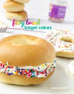 Bring the party to your bagel! Fairy Bread Bagel Cakes give this breakfast bread a place at the party table, and keeping Bounty Paper Towels on hand will take care of those sticky sandwich fingers. Bread Recipes, Snack Recipes, Cooking Recipes, Nutella, Yummy Treats, Yummy Food, Sprinkles Recipe, Fairy Bread, Lunch Snacks