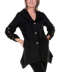 Black Linen Sidetail Jacket - Women
