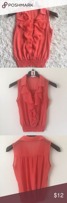 """Mine Sheer Ruffle Blouse Mine Women's Sheer Ruffle Tank Top Blouse Sleeveless Coral Peach Orange Color See Through Sheer Open button down front Collared Elastic Stretch Waistband Pre-owned in great condition Women's Size S. Measures 20"""" across chest arm pit to arm pit laying flat. Length is 22"""" long measured from top of shoulder to bottom hem. Mine Tops Blouses"""