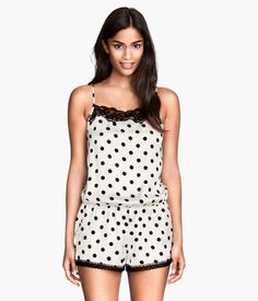 5e1439915d Black   white polka-dot satin teddy with lace details
