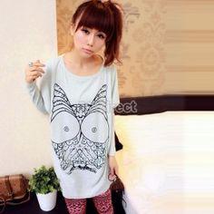 $5.90 Cute Cartoon Owl T-shirt Loose Casual Long Bat Sleeve Fashion T-shirt