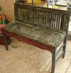 Old Shutters Decor, Old Wooden Shutters, Shutter Decor, Vintage Shutters, Shutter Shelf, Repurposed Furniture, Painted Furniture, Furniture Makeover, Diy Furniture