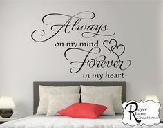 Sale Bedroom Wall Decal Always on My Mind by RoyceLaneCreations