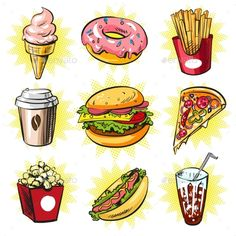 Vector Pop Art Set of Trendy Fast Food Patches