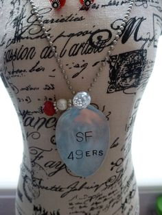 San Francisco 49ers Football Team Necklace and Earring by bling33, $39.00