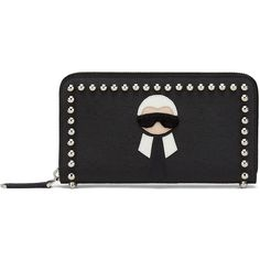 Fendi Zip-Around Continental Wallet ($900) ❤ liked on Polyvore featuring bags, wallets, black, fendi, zip around continental wallet, zip-around wallet, fendi bags and continental wallet