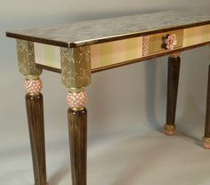 Sofa Table-Turned Legs:  Pink-Anthropologie Knob, Custom Made-To-Order by SuzanneFitchGallery.  Buy on Etsy. $1980.00
