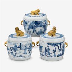 Asian arts. Blue white porcelain jars $54,000