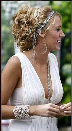 Greek goddess updo with sparkly headband. Would work well on naturally curly hair.