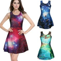 "Style:3d dress,galaxy dresses,japanese harajuku,cute kawaii Color:green,red,blue Size:one size Shoulder:no limit Skirt length:85cm/33.46"" Bust:76cm/29.92"" Waist:70cm/27.55"" Hips:94cm/37.00"" Tips: *Please double check above size and consider your measurements before ordering,thank you..."