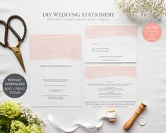 Wedding Invitation Set / Instant Download / Editable PDF / Water Colour / Modern Calligraphy / Peach / Flamingo / Invite / RSVP / Detail by JellypressPrintables on Etsy