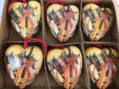 Vintage Lillian Vernon Paper Mache Heart Shaped Ornaments Set Of 6 Collectible