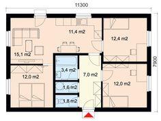 Projekt dřevostavby bungalovu 4+kk s terasou, RD 904   Typové projekty dřevostaveb   Projekty domů cz