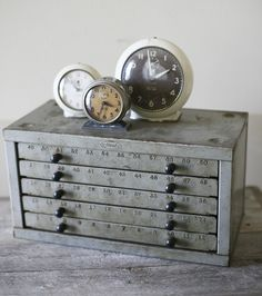 Industrial Vintage Cabinet love the clocks